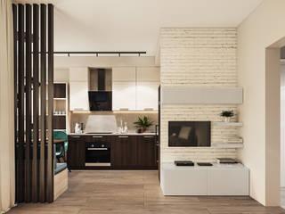 Квартира - студия для пары Гостиная в стиле минимализм от Lierne design Минимализм