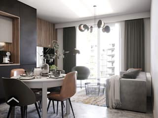 Mieszkanie na Podgórzu Nowoczesny salon od inPOINT Architektura Wnętrz Nowoczesny