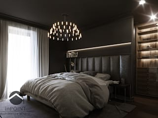 Ciemna sypialnia Nowoczesna sypialnia od inPOINT Architektura Wnętrz Nowoczesny
