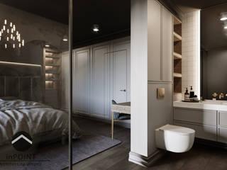 Ciemna sypialnia inPOINT Architektura Wnętrz Nowoczesna łazienka