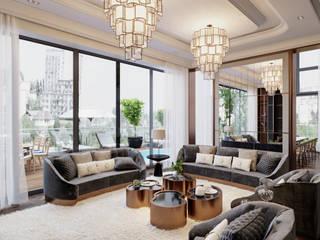 BIỆT THỰ THE POOL VILLA – QUẬN 2 – THÀNH PHỐ HỒ CHÍ MINH Phòng khách phong cách kinh điển bởi Neo Classic Interior Design Kinh điển