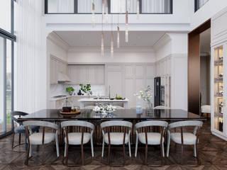 BIỆT THỰ THE POOL VILLA – QUẬN 2 – THÀNH PHỐ HỒ CHÍ MINH Phòng ăn phong cách kinh điển bởi Neo Classic Interior Design Kinh điển