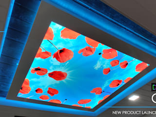 Digital printed Ceiling, Hyderabad project Modern living room by Myceiling Private Limited Modern