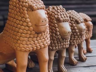 Escultura Leões em Cerâmica por Shodó Arts & Crafts