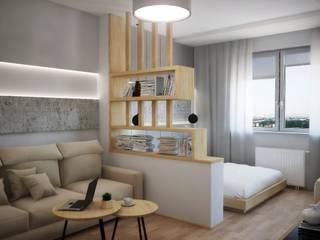 Квартира для молодой семьи Гостиная в стиле модерн от Руденская Дизайн Модерн