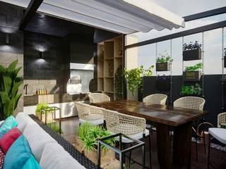 Релиз проекта с камином не только в гостиной, но и на террасе: сучасний  вiд Planika, Сучасний
