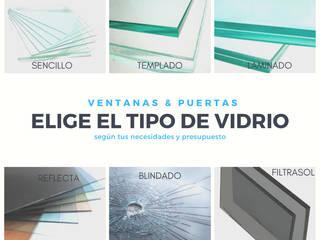 Tipos de vidrios Ventanas y Puertas Espacios comerciales de estilo minimalista de Goldglass Ventanas y Puertas Minimalista