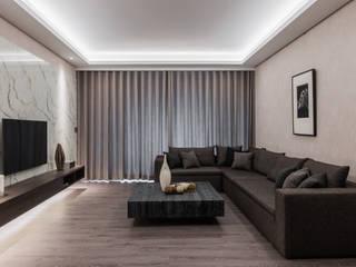台北 J 宅 大企國際空間設計有限公司 现代客厅設計點子、靈感 & 圖片