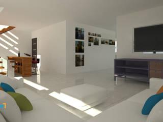 Residencia Lomas Lynder Constructora e Inmobiliaria Salones modernos Cerámico Blanco