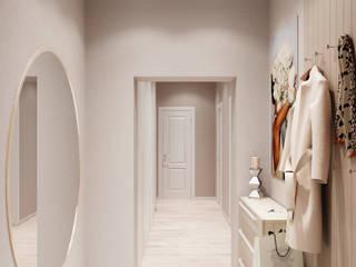 Легкий, светлый интерьер 3к квартиры. Коридор, прихожая и лестница в стиле минимализм от Anikina_des_studio Минимализм