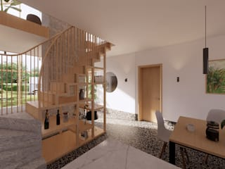 East Yorkshire Passivhaus モダンデザインの ダイニング の Samuel Kendall Associates Limited モダン