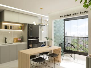 Arquiteto Virtual - Projetos On lIne Dapur kecil Kayu Grey