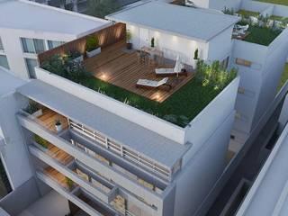 Edificio en Martínez LLACAY arquitectos Balcones y terrazas modernos: Ideas, imágenes y decoración