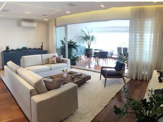 REFORMA DE APARTAMENTO ALTO PADRÃO, MOEMA, SÃO PAULO 240M² ABBITÁ arquitetura Salas de estar modernas Bege