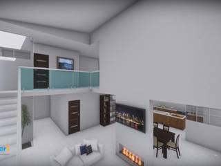 Residencia Vista Real Lynder Constructora e Inmobiliaria Salones minimalistas Concreto Blanco