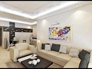 3BHK RESIDENCE IN MUMBAI Modern living room by VISIONARY DESIGN Modern