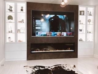 Media unit with fireplace Salas de estilo moderno de Kleiderhaus ltd Moderno