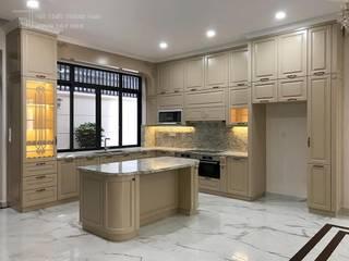 Thiết kế sản xuất nội thất biệt thự - Quận 7 Nội thất Thành Nam KitchenCabinets & shelves Gỗ Amber/Gold