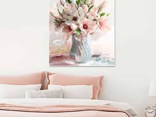 Obraz na płótnie Magnolie w wazonie Renaty Bułkszas Nowak grafikiobrazy.pl SypialniaAkcesoria i dekoracje Tekstylia Różowy