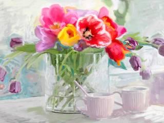 Obraz na płótnie Tulipany w wazonie Renaty Bułkszas Nowak grafikiobrazy.pl SypialniaAkcesoria i dekoracje Tekstylia Fioletowy