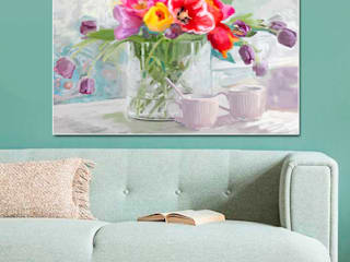Obraz na płótnie Tulipany w wazonie Renaty Bułkszas Nowak grafikiobrazy.pl SalonAkcesoria i dekoracje Tekstylia Fioletowy