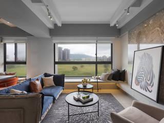 現代氣息 现代客厅設計點子、靈感 & 圖片 根據 伏見設計事業有限公司 現代風