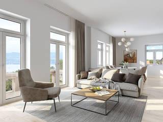 Gründerzeitvilla am Bodensee - Visualisierung eines geschmackvollen Wohnhauses Klassische Wohnzimmer von PerspektiveEins Klassisch
