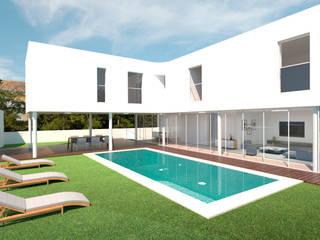 Moradia Fonte Santa Casas minimalistas por Meireles Cabral Arquitectos Minimalista