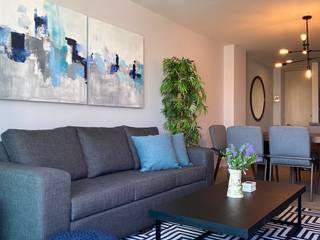 NATALIA JIMENEZ - INTERIOR DESIGN STUDIO Modern living room Aluminium/Zinc Turquoise