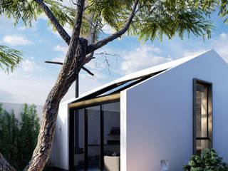 DOF Arquitectos Minimalistyczny balkon, taras i weranda Beton Biały