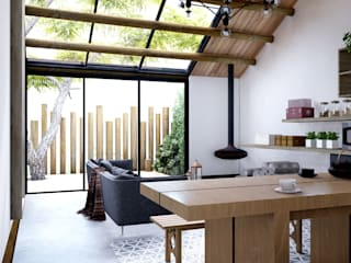 DOF Arquitectos Minimalistyczna jadalnia Drewno Biały