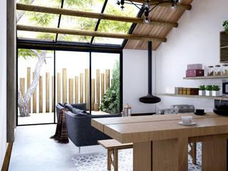 DOF Arquitectos ห้องทานข้าว ไม้ White