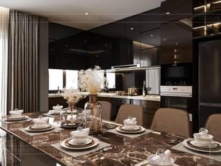 Bất ngờ trước diện mạo mới của nội thất căn hộ Belleza quận 7 Phòng ăn phong cách hiện đại bởi Thiết kế nội thất ICONINTERIOR Hiện đại
