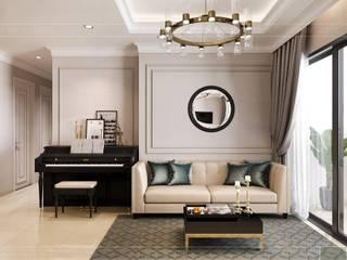 Biến tấu thiết kế nội thất căn hộ Golden Masion đẹp mê ly bởi Thiết kế nội thất ICONINTERIOR Hiện đại