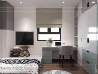 CityLand Park Hills - Tự do phá cách cùng đường nét hiện đại trong thiết kế nội thất căn hộ Cityland Park Hills Phòng ngủ phong cách hiện đại bởi Thiết kế nội thất ICONINTERIOR Hiện đại