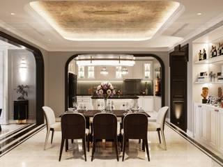 Opal tower - Thiết kế căn hộ Opal Tower giàu xúc cảm trong đường cong quyến rũ Phòng ăn phong cách hiện đại bởi Thiết kế nội thất ICONINTERIOR Hiện đại