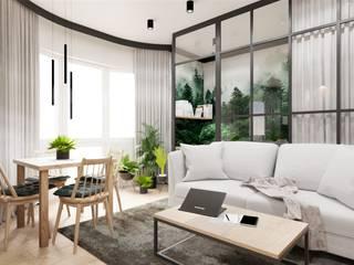 Salon z małą sypialnią Wkwadrat Architekt Wnętrz Toruń Industrialny salon Matal Zielony