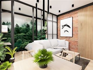 Salon z małą sypialnią Wkwadrat Architekt Wnętrz Toruń Industrialny salon Drewno Zielony