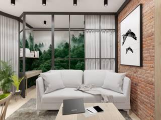 Salon z małą sypialnią Wkwadrat Architekt Wnętrz Toruń Industrialny salon Szkło Czarny