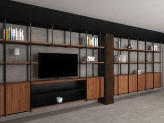 Living Room Gio Studio Pareti & Pavimenti in stile moderno Legno Nero