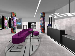 Ro Pinheiro 現代風玄關、走廊與階梯