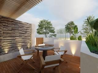MSG Architecture SA DE CV Minimalist balcony, veranda & terrace Concrete White
