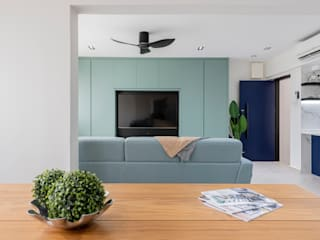 Modern Contemporary in Bleen Scandinavian style living room by Meter Square Pte Ltd Scandinavian