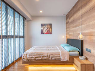 Scandinavian style bedroom by Meter Square Pte Ltd Scandinavian Wood Wood effect