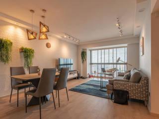 Scandinavian style living room by Meter Square Pte Ltd Scandinavian Wood Wood effect