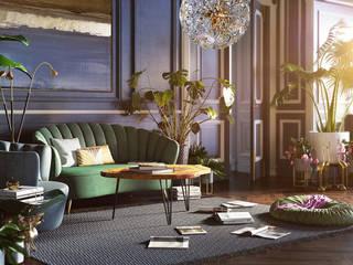 Mid Century Stil - Visualisierung des Wohnbereichs einer Villa in München von PerspektiveEins Ausgefallen