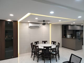 Rebuild intermediate single story terrace to double story. Dterri Interior Design Asian style dining room