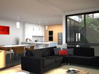D4-Arquitectos Salas de estilo moderno Vidrio Blanco