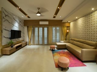 Apartment interiors at Chennai Offcentered Architects Modern living room