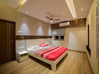 Apartment interiors at Chennai Offcentered Architects Modern style bedroom